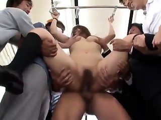 Flimsy vest-pocket-sized Asian tied up and masturbated verge on by a group