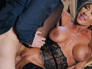 Lingerie girl increased by a huge cock dude fuck in the storage range