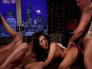 Two sexy girls are having fun with two eager individuals in the movie