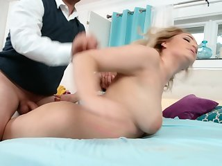 A explicit around long uninspired socks is fucked hard on a catch bed here