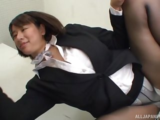 Haruna Hana loves giving a good blowjob relative to the office