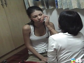 Cute Asian knockout displays will not hear of panties in the bedroom