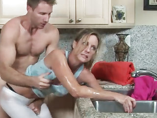 MILF gets will not hear of hand stuck here make an issue of drain, will not hear of son helps