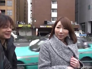 Japanese babe with sincere tits gets two cocks in their way mouth and pussy