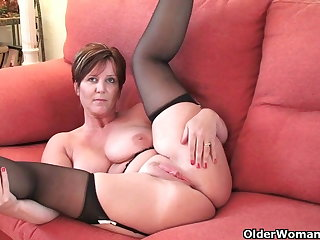 British milf Joy exposing her chubby tits and hot fanny