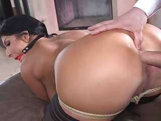 Plighted babe gets long dick up her ass