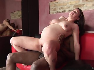 Convincing brunette masturbates before sex with her black lover