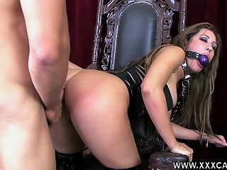 Submissive bitch in corset Capri Cavalli gets her mouth and pussy fucked