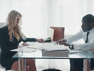 Super sexy business woman Katie Morgan seduces black companion