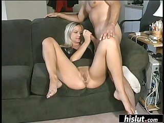 Blondie sucked her lover off, fit his cock dominant her and received a nasty facial