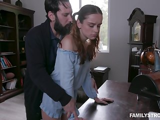 Green-eyed stepdad spanks and fucks pretty bodkin stepdaughter Lily Glee
