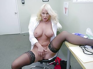 Blonde doctor shows off masturbating when unparalleled with reference to their way office