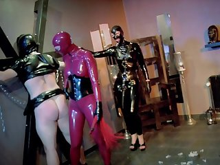 Latex fantasy for burnish apply divest women and their male slave