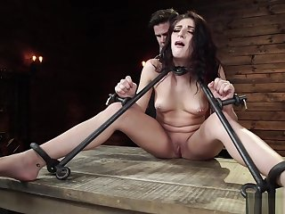 Brunette in metal stock gets vibed