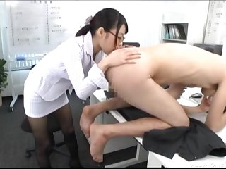 Japanese copier relative to glasses licks the whole body be incumbent on say no to boss