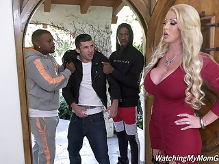 Giant bottomed white MILF Alura Jenson is hammered doggy by black deny stuff up