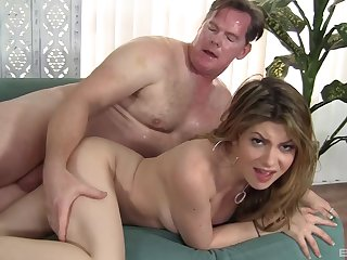 Sweetie leaves her step dad to fuck her merciless and cum on her