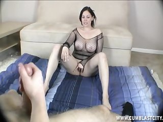 Mature in fishnet machine teases with her pussy while he masturbates