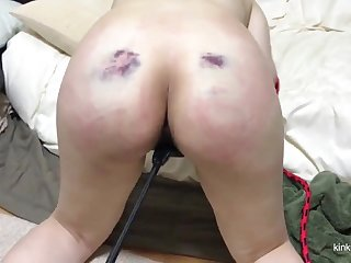 My girlfriend gets a real indestructible castigation with the whip after a long time she sucks my dick.