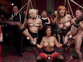BDSM party with rich folks plus sub sluts Lauren Phillips plus Eliza Jane
