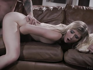 Stimulated fair-haired girl fucked merciless and jizzed by her affectation dad