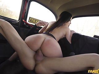 Needy woman rides the cab driver's load of shit on the back rump