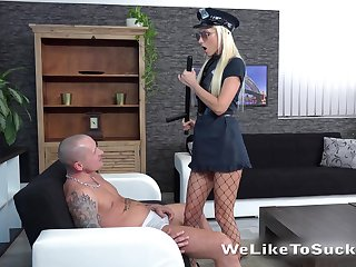 Horny and strict blonde cop Victoria Daniels makes dude groan during oral petting