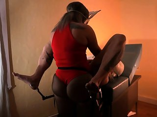 Hot femdom penetrates slaves tight ass with big strapon