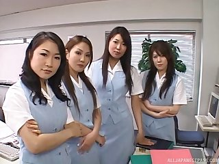 POV video of lot of naughty girls riding one contrived manhood