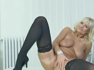 Blonde Office Lady, Roxana Is Often Masturbating While At Work, Because It Feels Reform Than Convivial