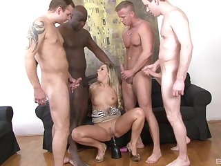 Blonde become man gets gagged and hard fucked on every side a sexy gangbang play